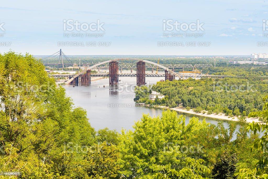Three Bridges in Kiev stock photo