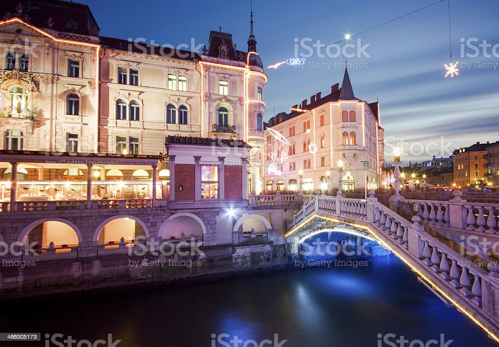 Three bridges Ljubljana Slovenia stock photo