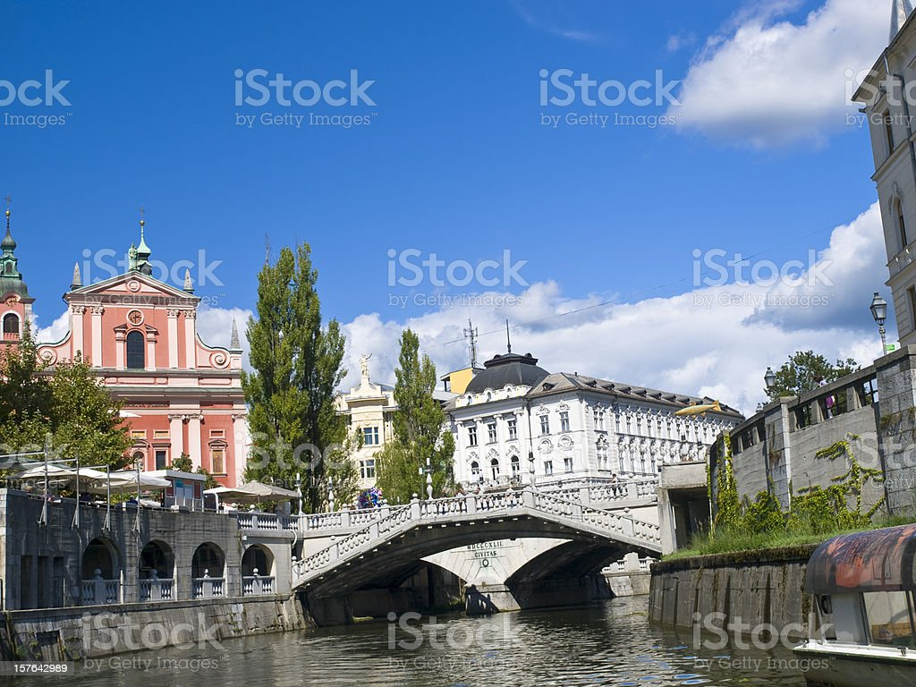 Three Bridges Tromostovje, LJubljana stock photo