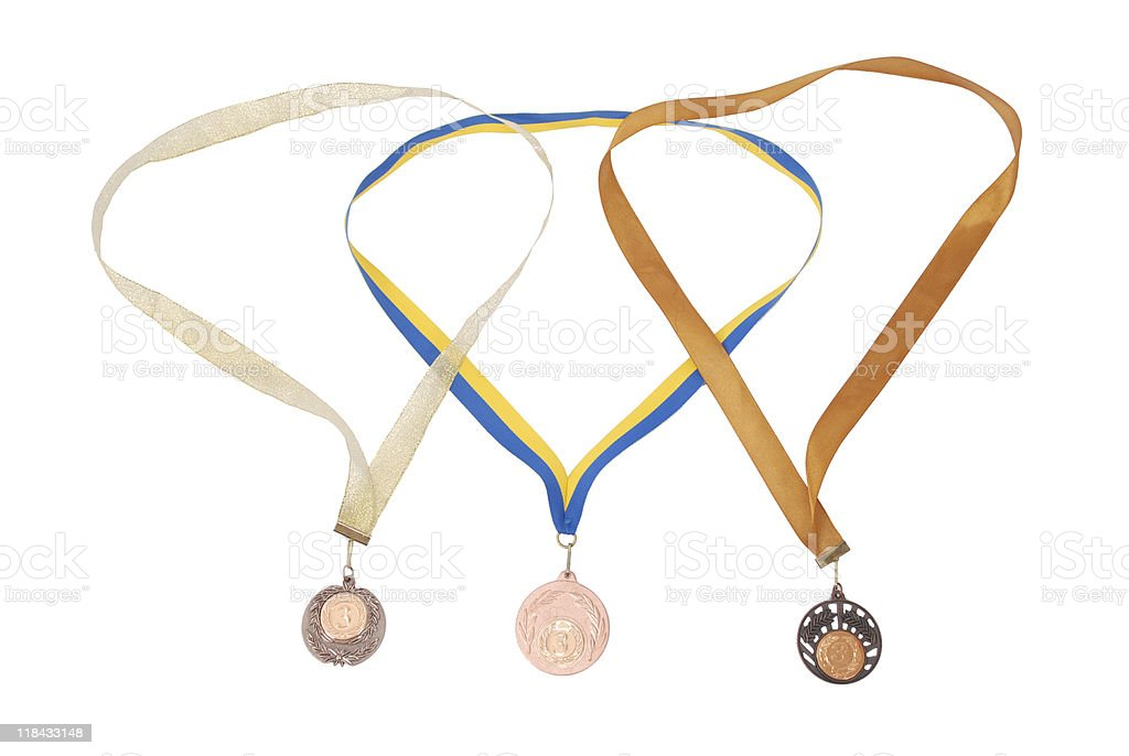 Three bronze medals on white background royalty-free stock photo