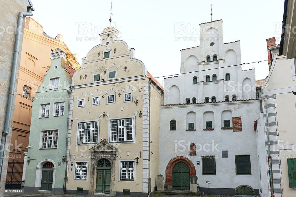 Three Brothersl houses in old town stock photo