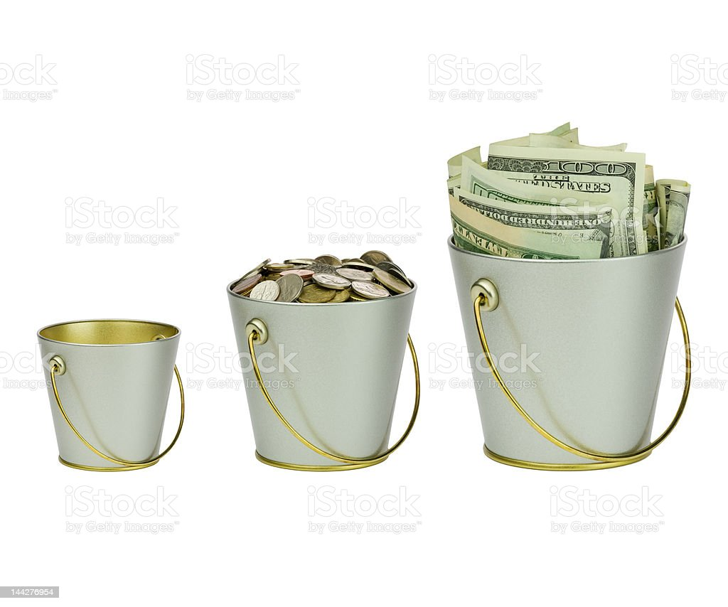 Three buckets of money in a row stock photo
