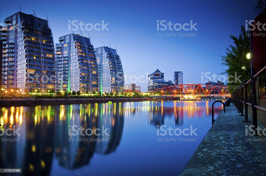 three buildings and bridge salford quays stock photo