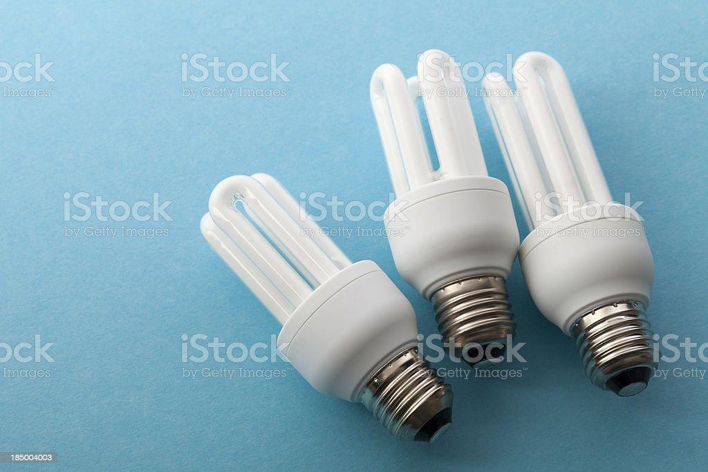 Three Bulbs on Blue royalty-free stock photo