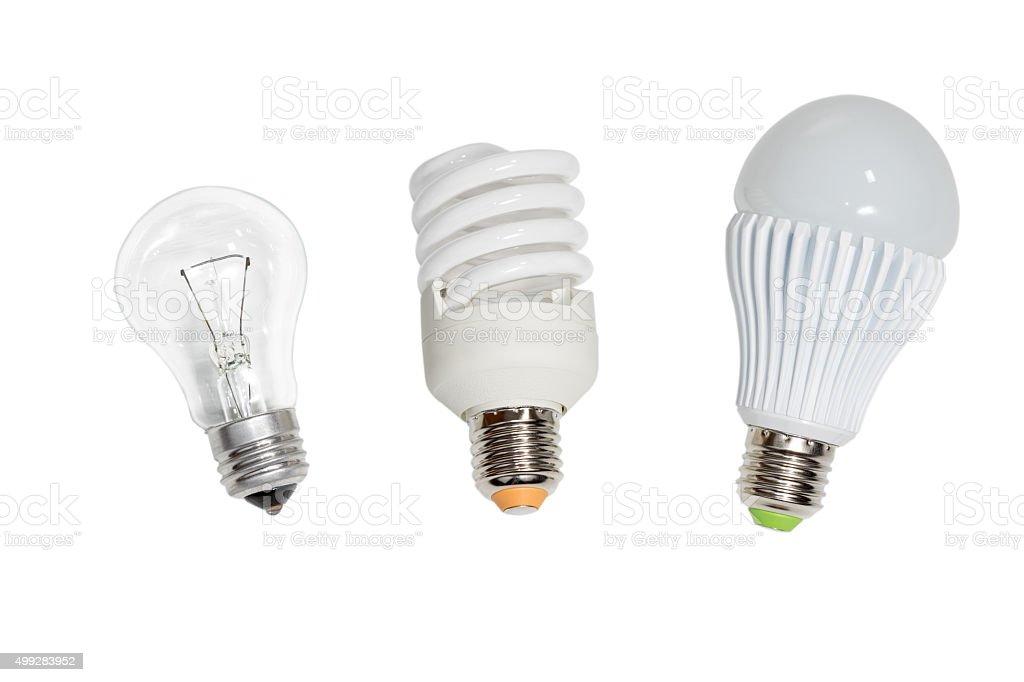 Three bulbs on white stock photo