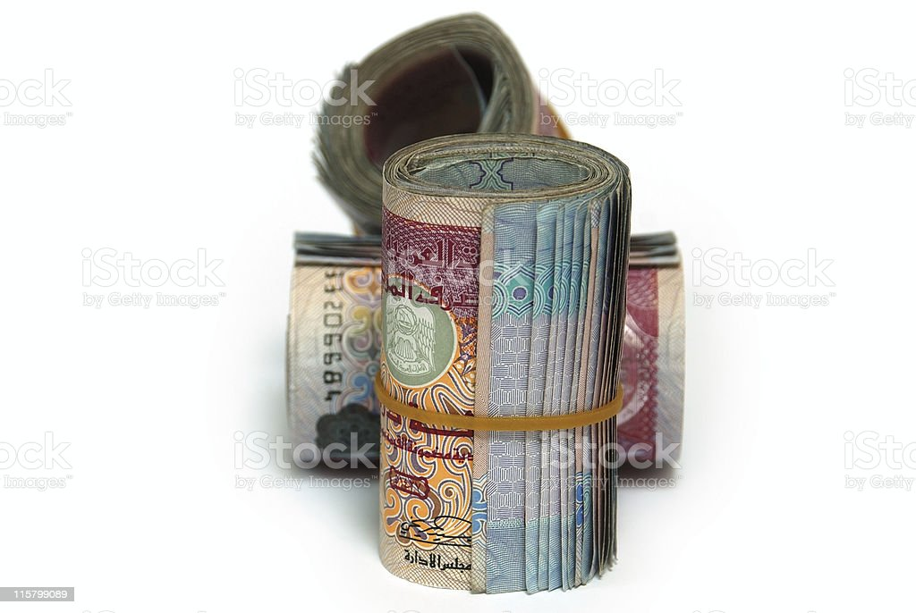 Three bundles of United Arab Emirates 100 Dirham notes royalty-free stock photo