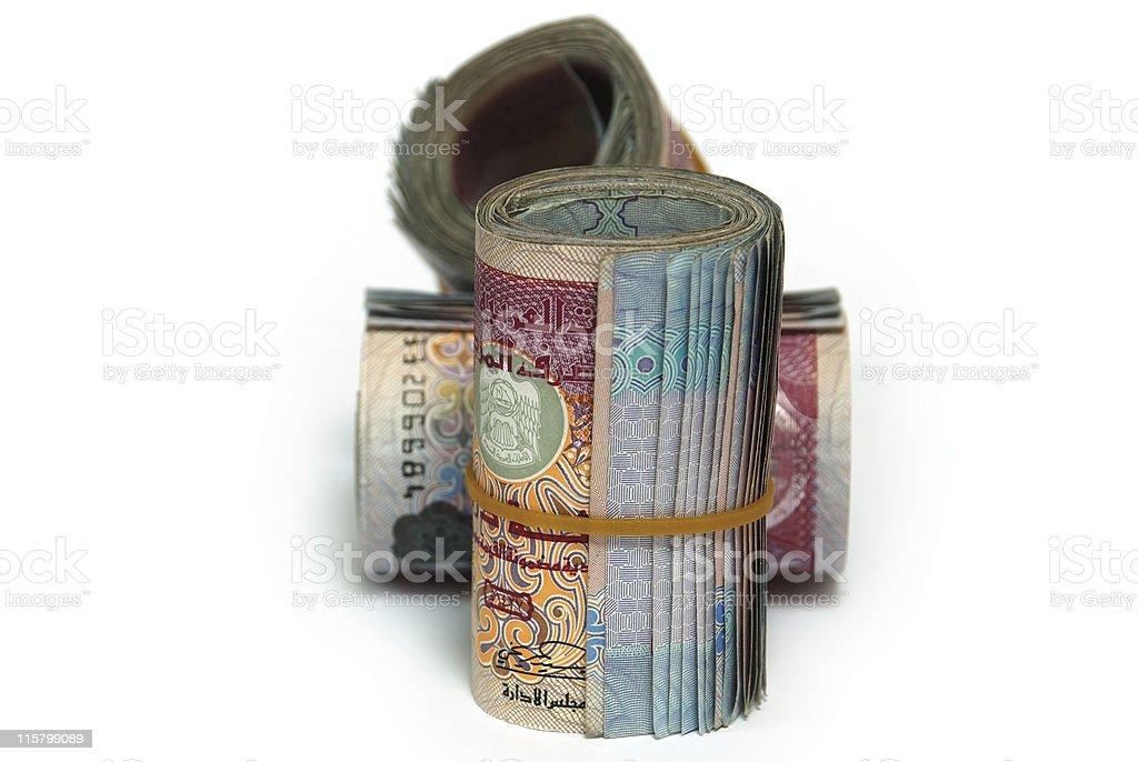 Three bundles of United Arab Emirates 100 Dirham notes stock photo