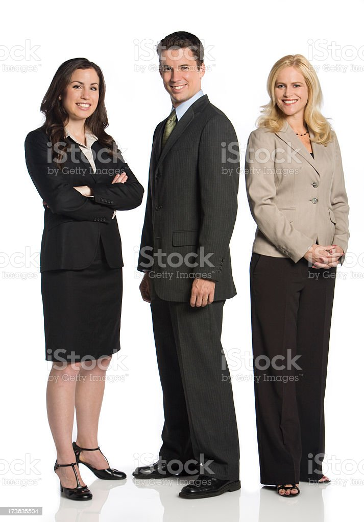 Three business colleagues pose for a photo stock photo