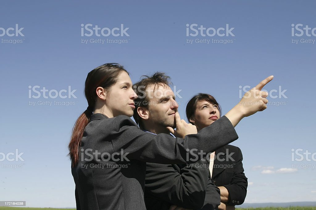 Three business people outdoors royalty-free stock photo