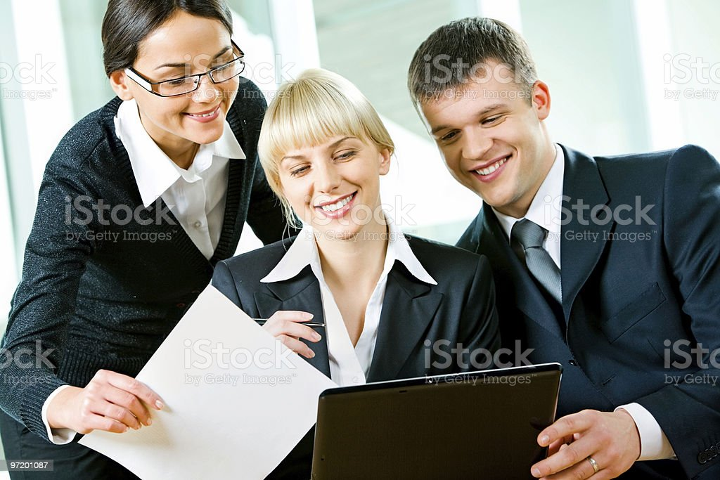Three business people royalty-free stock photo