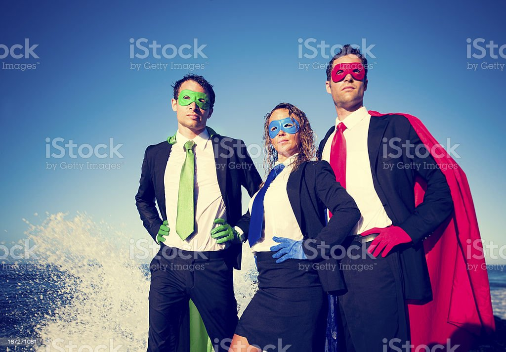 Three Business Superheroes stock photo