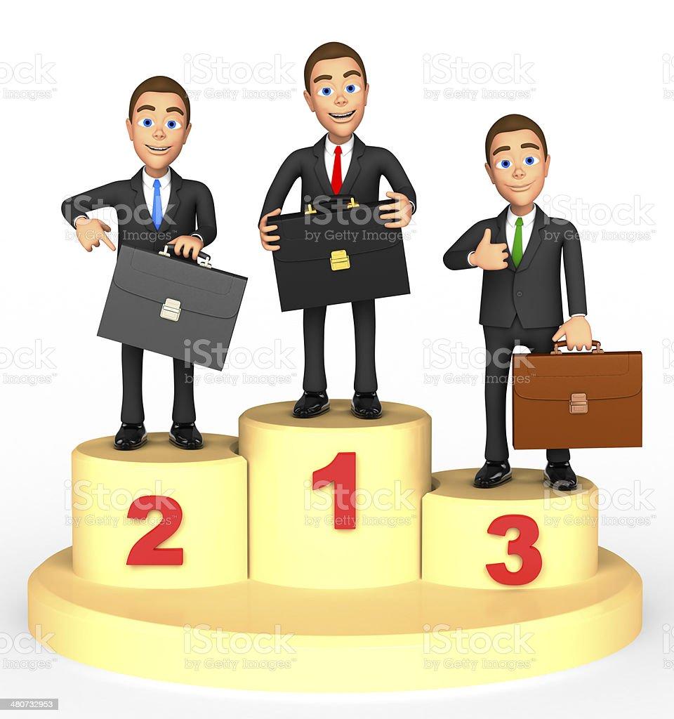 three businessman with three awards stock photo