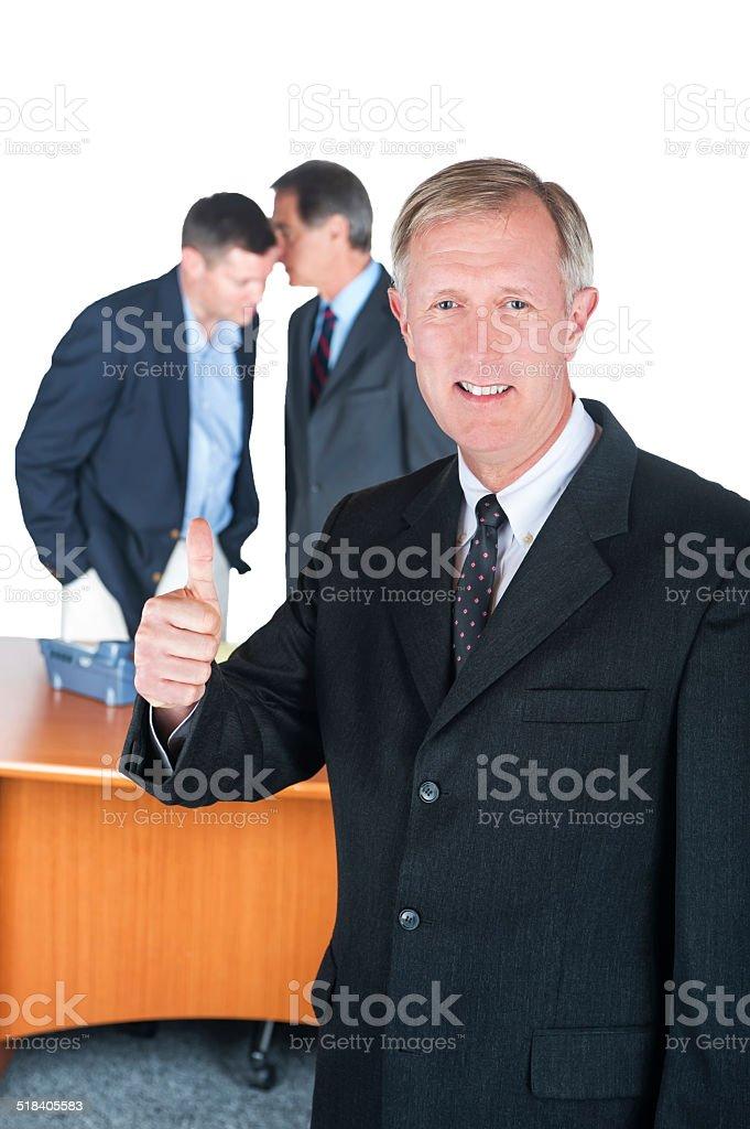 Three businessmen having a meeting stock photo