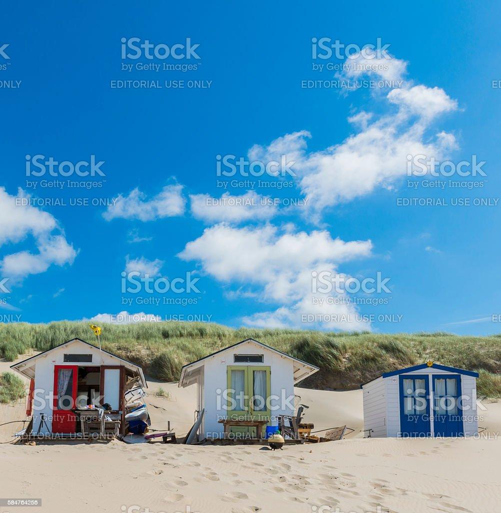 Three Cabins on the Beach Texel stock photo