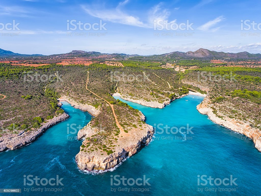Three calas of east coast on Spanish Balearic island of Majorca stock photo