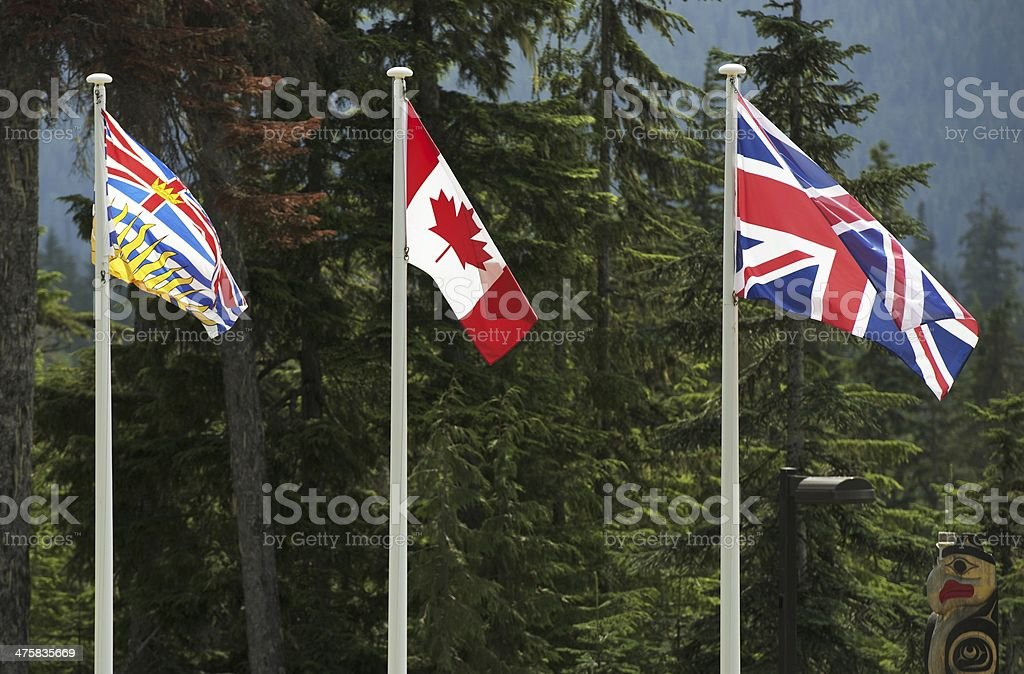 Three Canadian Flags stock photo