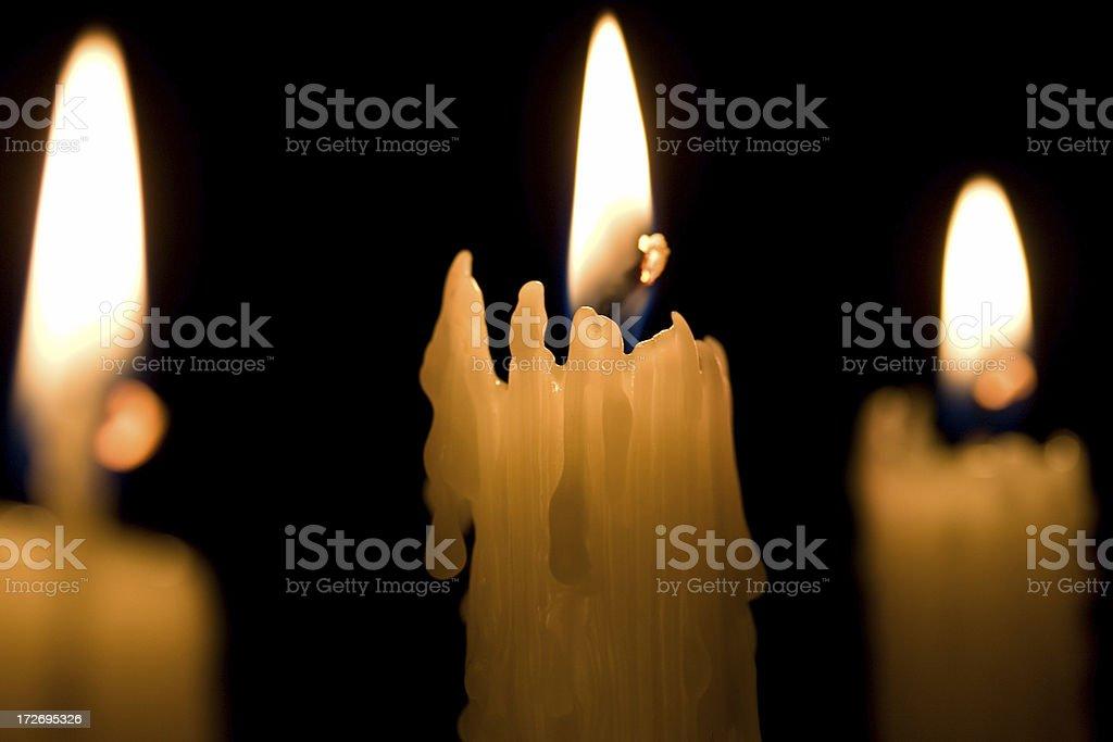 Three Candles on black royalty-free stock photo