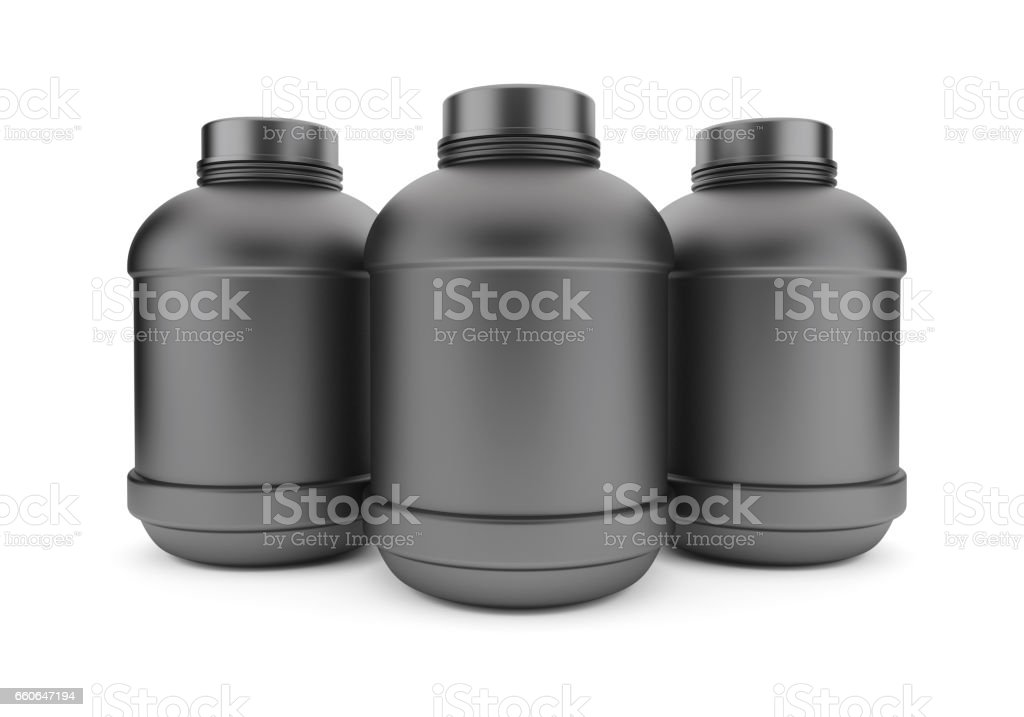 Three Cans of Bodybuilding Supplements stock photo