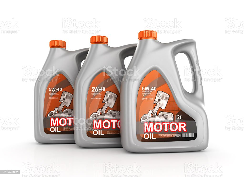 Three cans of motor oil stock photo
