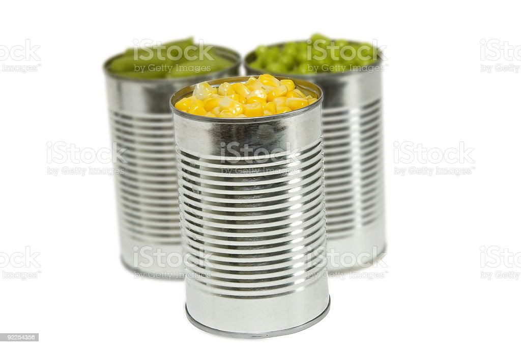 Three Cans of Vegetables stock photo