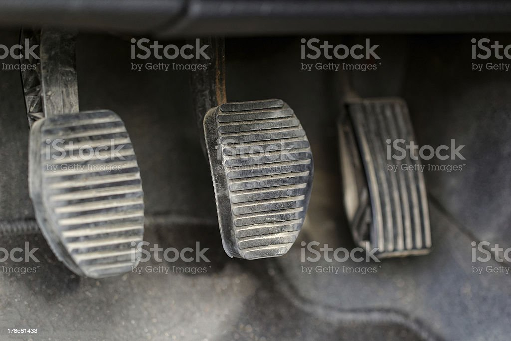 three car pedals stock photo