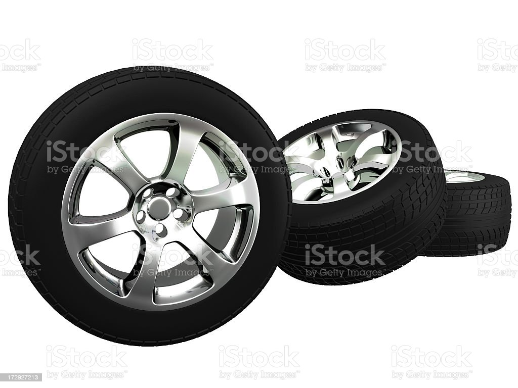 Three car wheels royalty-free stock photo