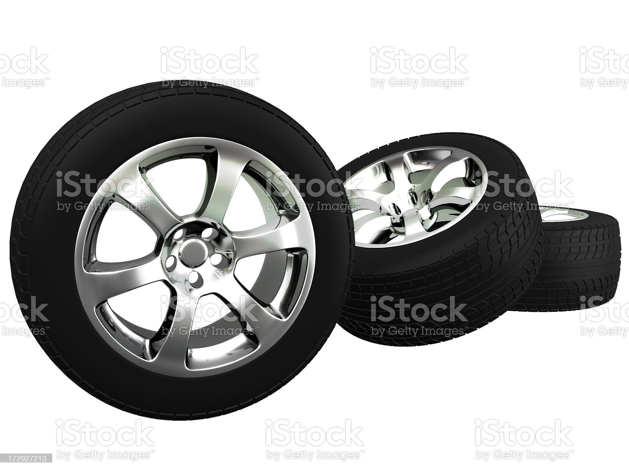 Three car wheels royalty-free stock photo
