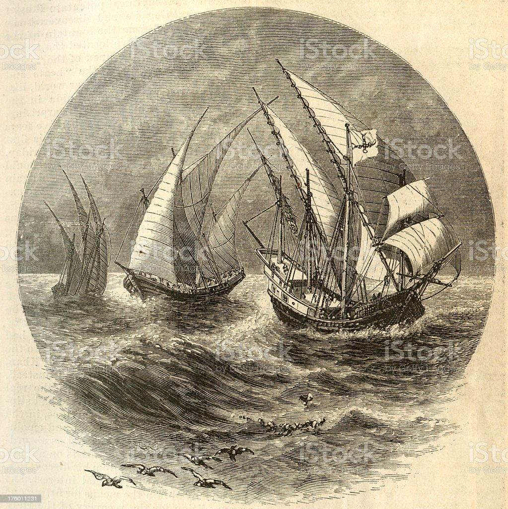 Three Caravels Engrave stock photo