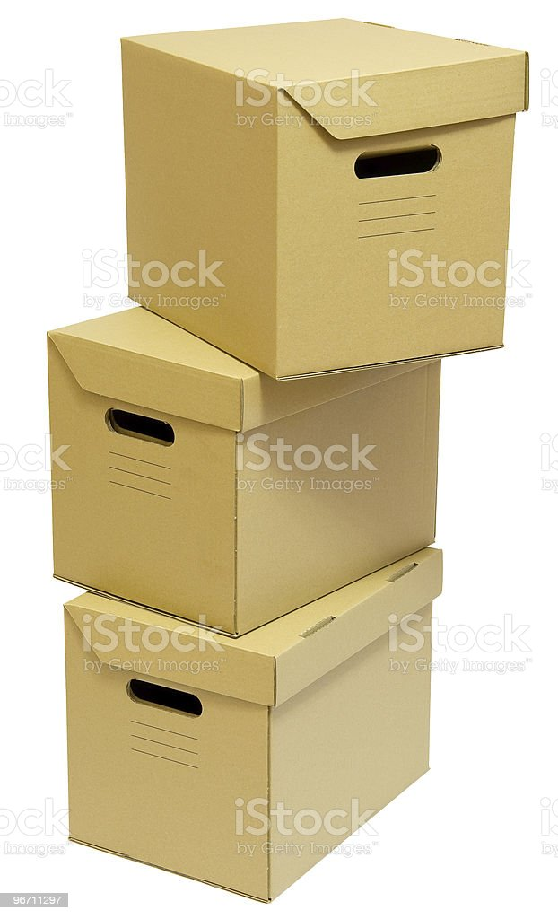 Three cardboard boxes royalty-free stock photo