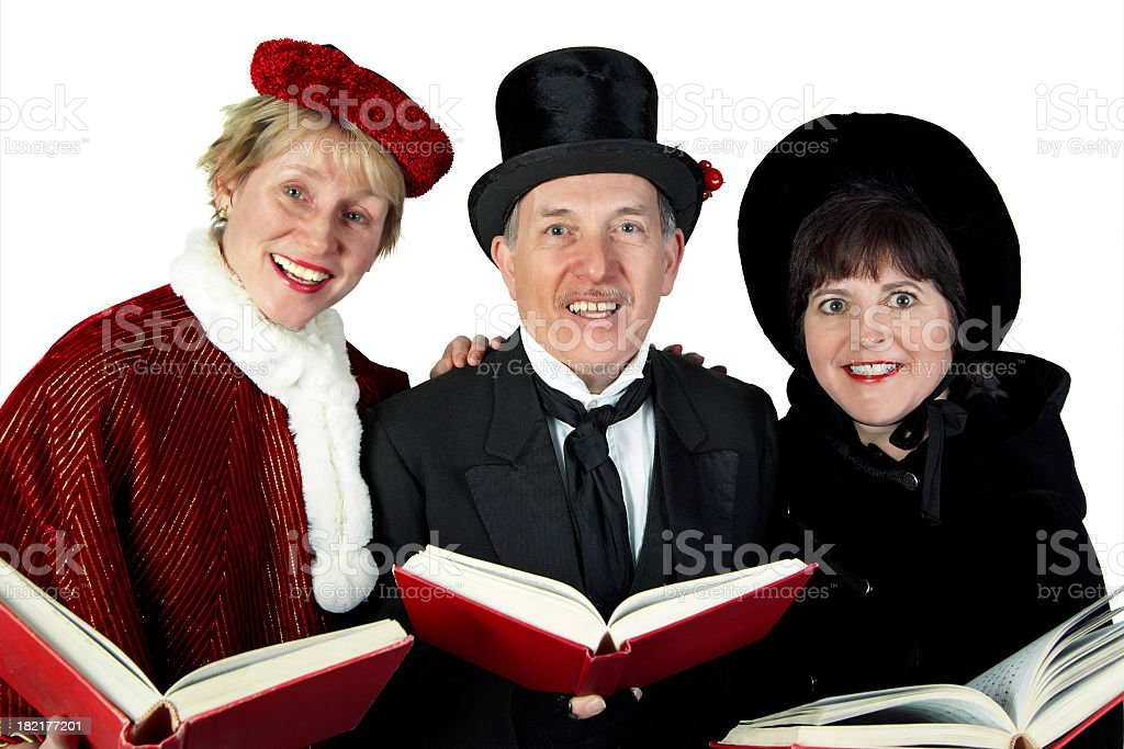 Three Carolers stock photo