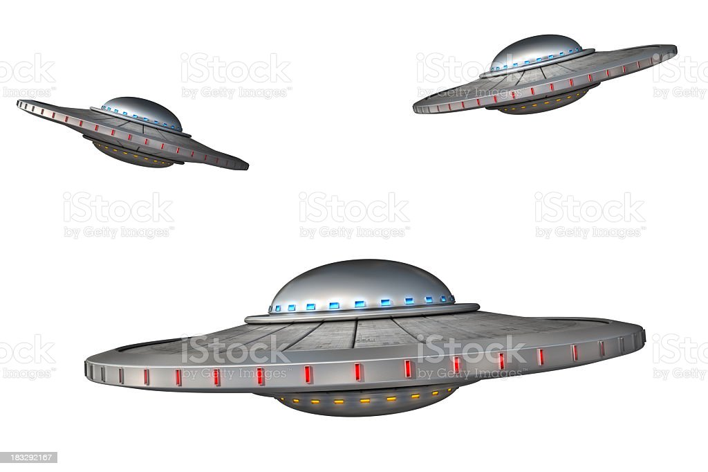 Three cartoons of flying saucers on a white background stock photo