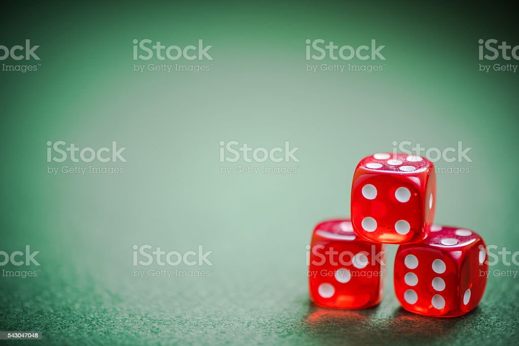 three casino red dices stock photo