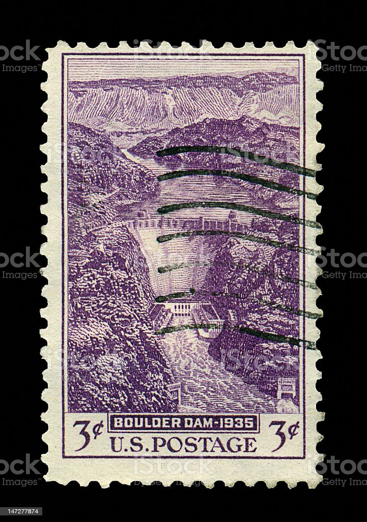Three Cent Boulder Dam Stamp royalty-free stock photo