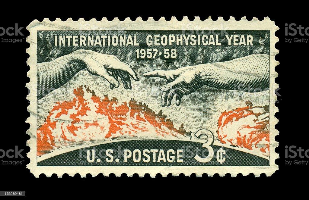 Three Cent International Geophysical Year Stamp stock photo