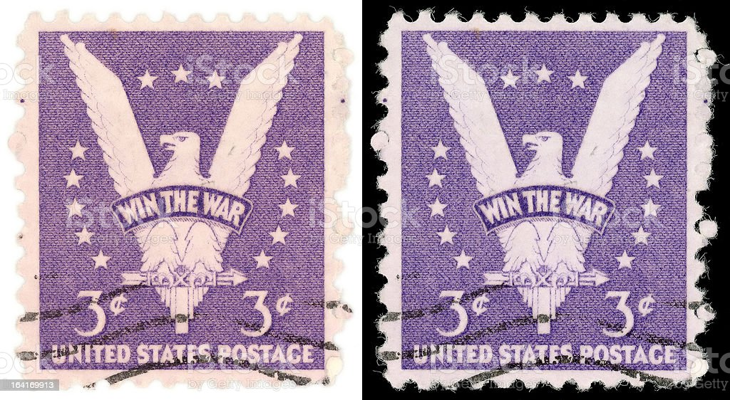 Three Cent US Postage Stamp Win the War from 1942 stock photo