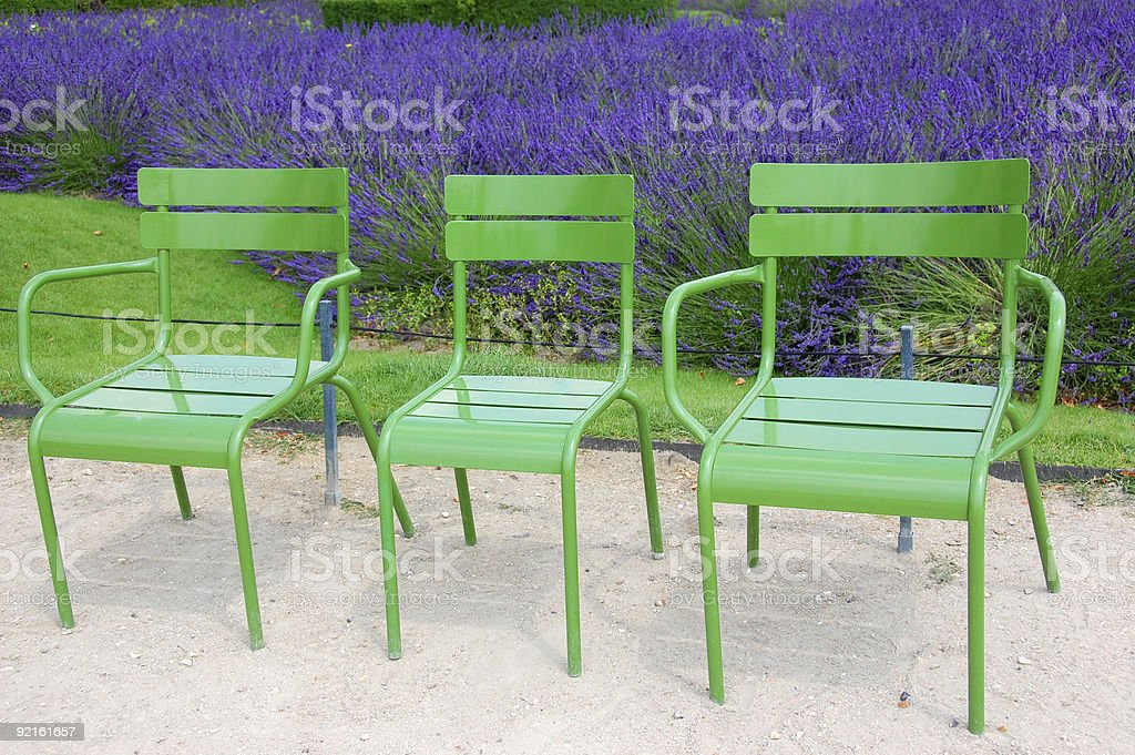 Three Chairs, Tuileries Garden, Paris royalty-free stock photo