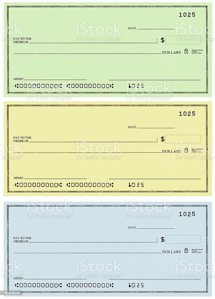 three checks with no name and false numbers stock photo