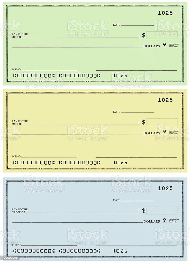 three checks with no name and false numbers stock photo
