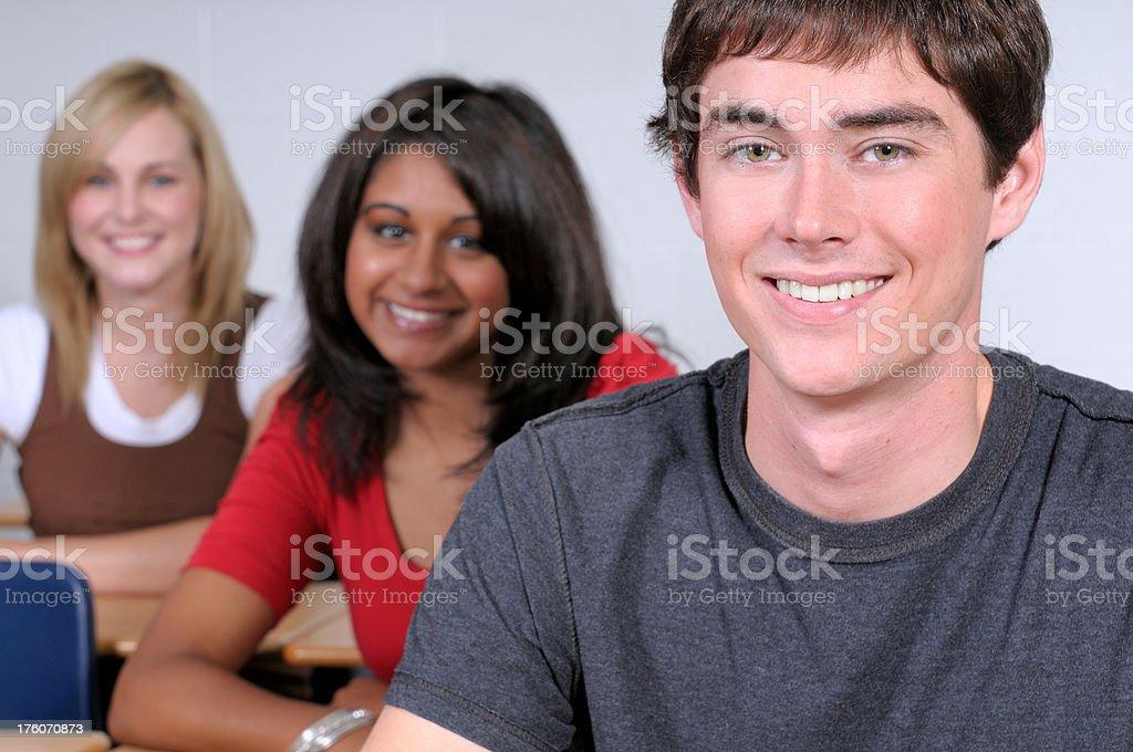 Three cheerful students royalty-free stock photo