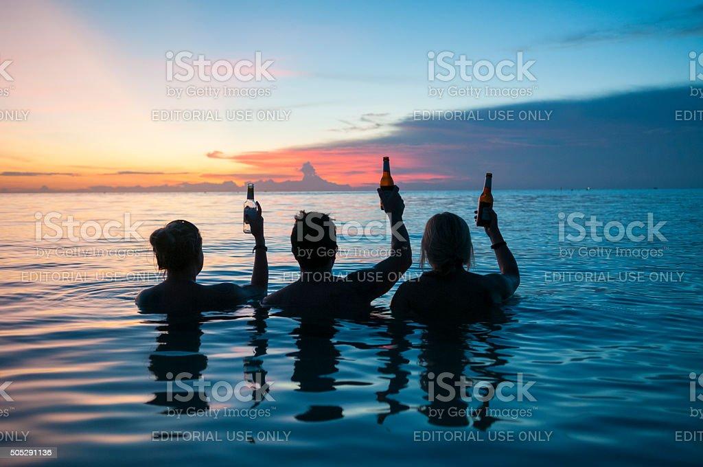 Three cheers to another day - Ko Tao, Thailand stock photo