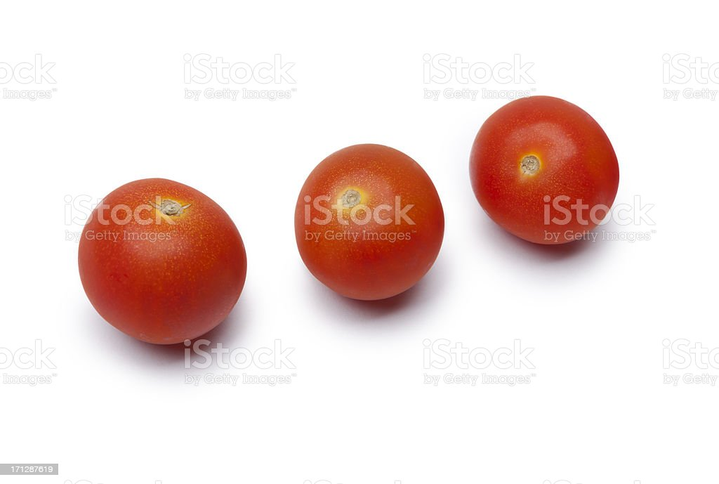 Three Cherry tomatoes on white stock photo