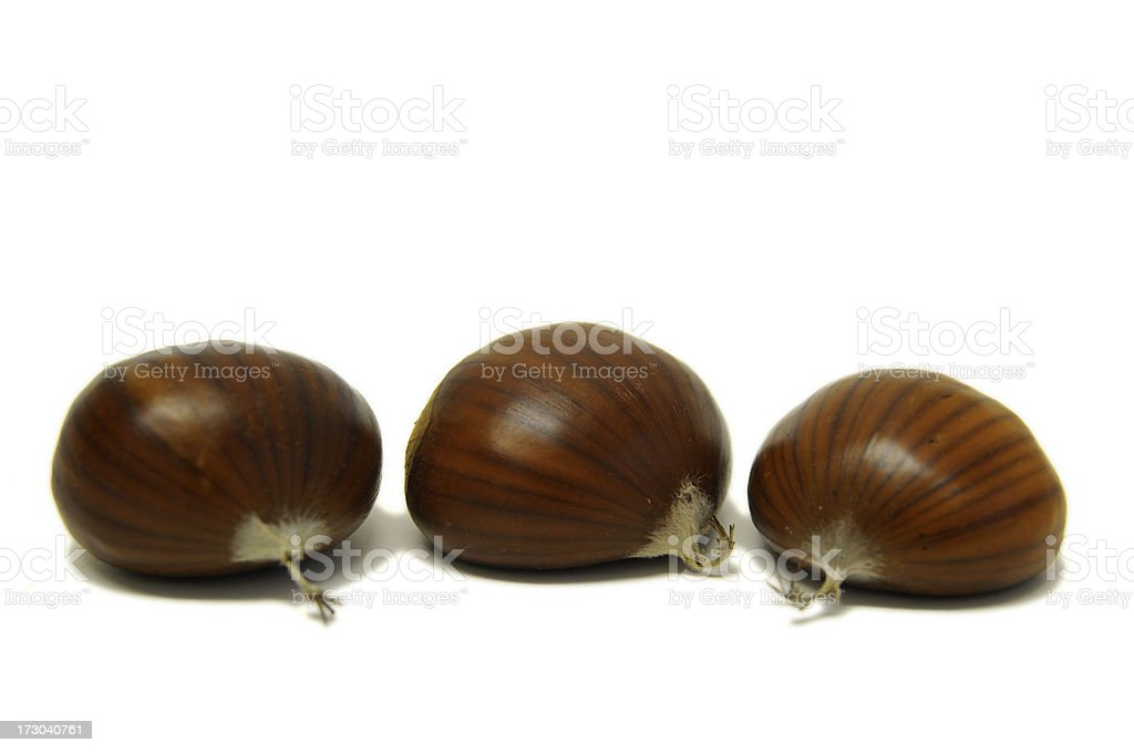 three chestnuts nuts royalty-free stock photo