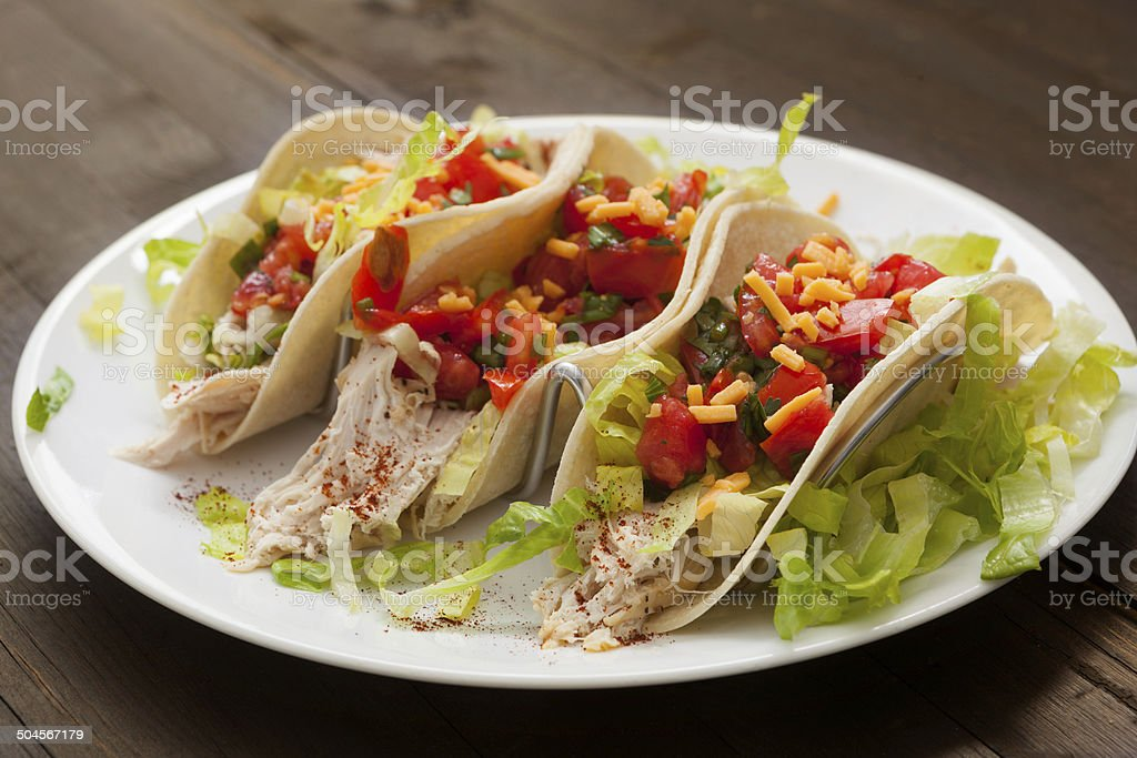 Three Chicken Tacos stock photo