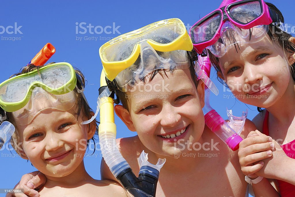 Three Children with Snorkels royalty-free stock photo