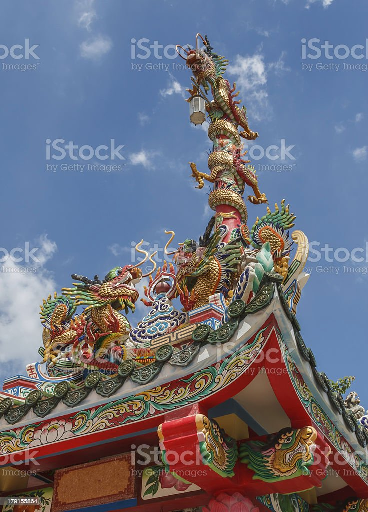 Three chinese golden dragons in sunny day royalty-free stock photo