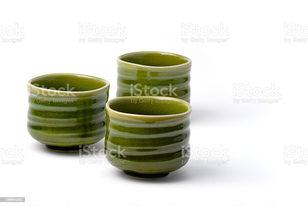 three chinese tea cups 3 stock photo