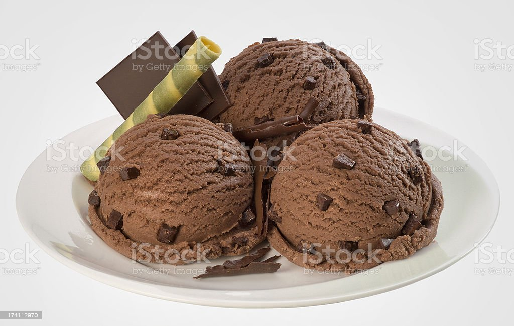 Three chocolate ice cream balls royalty-free stock photo