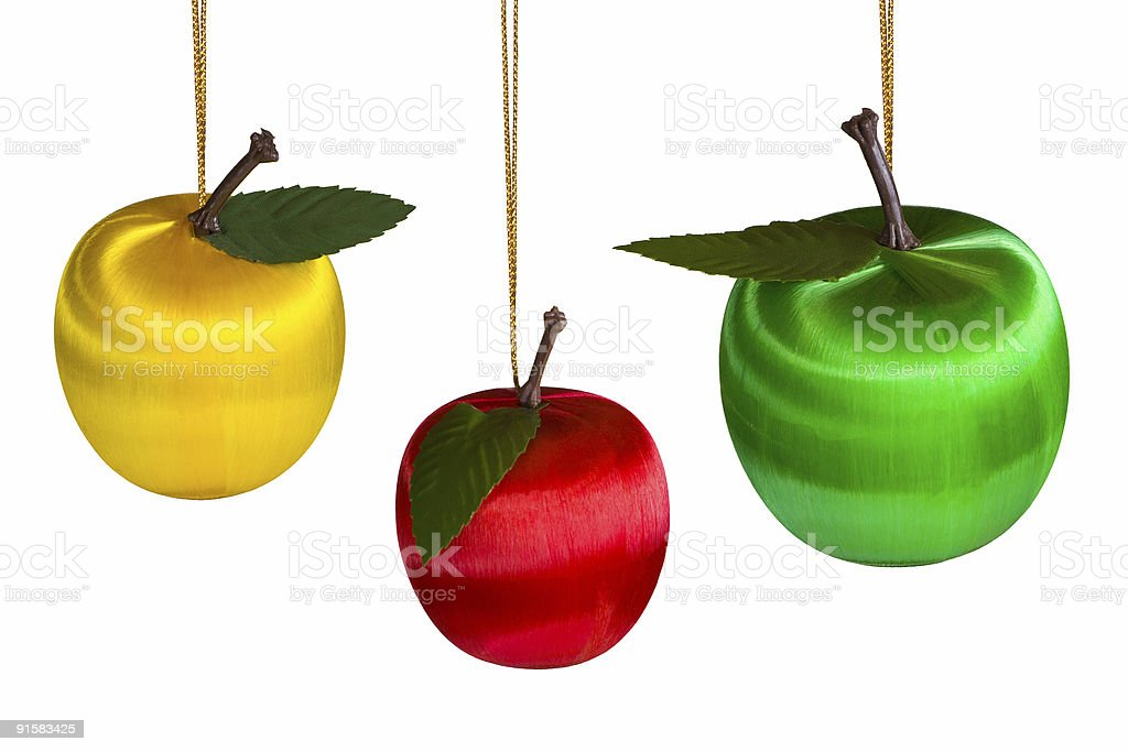 Three christmas apples royalty-free stock photo
