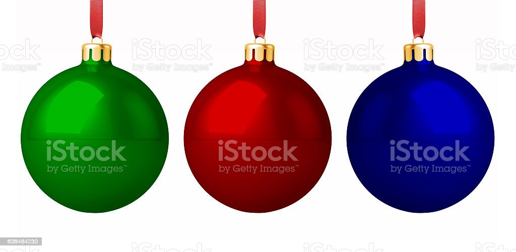Three Christmas Baubles stock photo