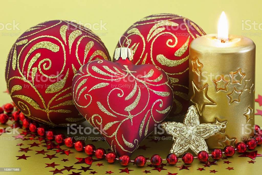 Three Christmas Baubles with Candle and Star royalty-free stock photo